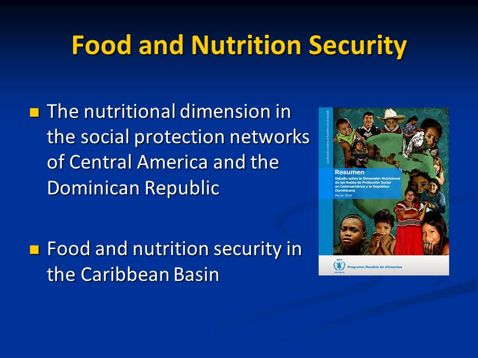 Food and Nutrition Security The nutritional dimension in the social protection networks of Central America and the Dominican Republic The nutritional dimension in the social protection networks of Central America and the Dominican Republic Food and nutrition security in the Caribbean Basin Food and nutrition security in the Caribbean Basin