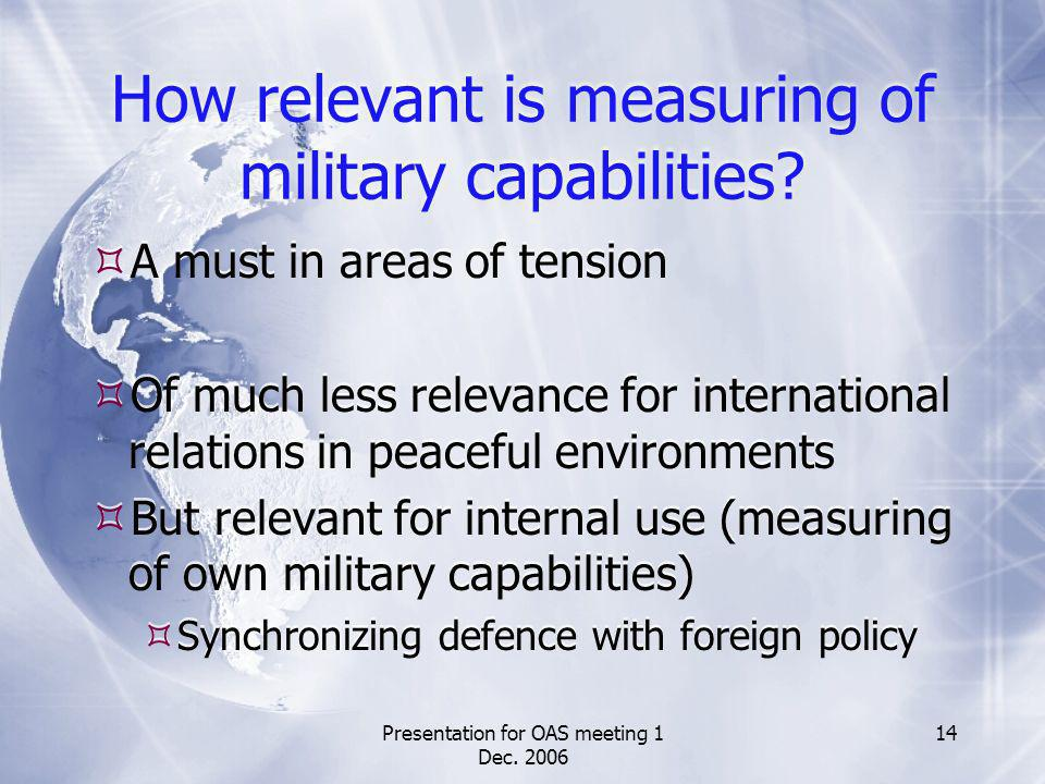 Presentation for OAS meeting 1 Dec. 2006 14 How relevant is measuring of military capabilities? A must in areas of tension Of much less relevance for