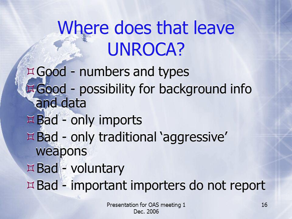 Presentation for OAS meeting 1 Dec. 2006 16 Where does that leave UNROCA.