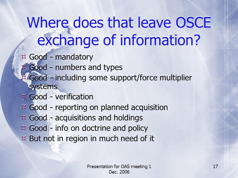 Presentation for OAS meeting 1 Dec. 2006 17 Where does that leave OSCE exchange of information? Good - mandatory Good - numbers and types Good - inclu
