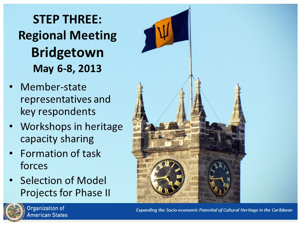 STEP THREE: Regional Meeting Bridgetown May 6-8, 2013 Member-state representatives and key respondents Workshops in heritage capacity sharing Formation of task forces Selection of Model Projects for Phase II Expanding the Socio-economic Potential of Cultural Heritage in the Caribbean