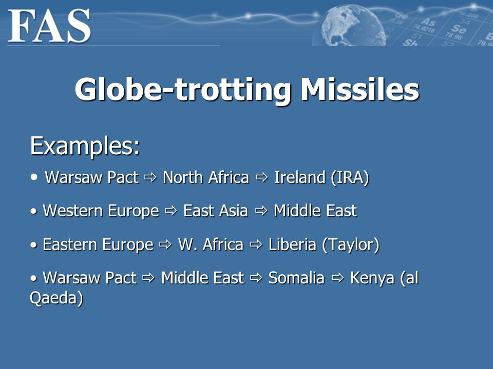 Globe-trotting Missiles Examples: Warsaw Pact North Africa Ireland (IRA) Western Europe East Asia Middle East Western Europe East Asia Middle East Eastern Europe W.