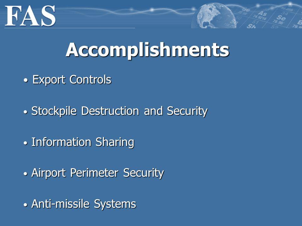 Accomplishments Export Controls Export Controls Stockpile Destruction and Security Stockpile Destruction and Security Information Sharing Information