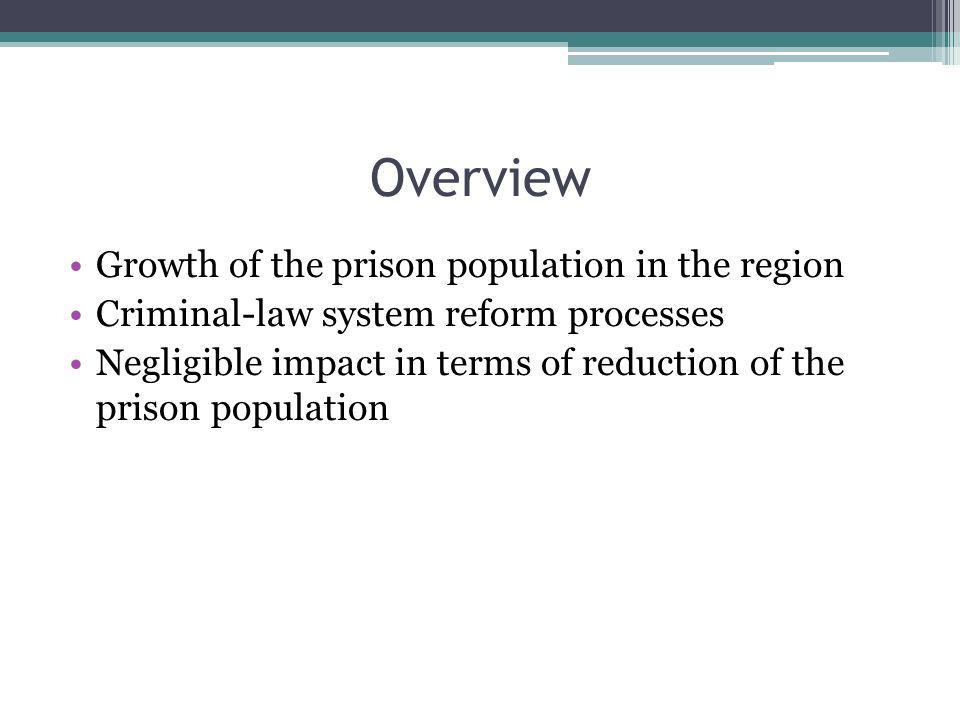 Overview Growth of the prison population in the region Criminal-law system reform processes Negligible impact in terms of reduction of the prison population