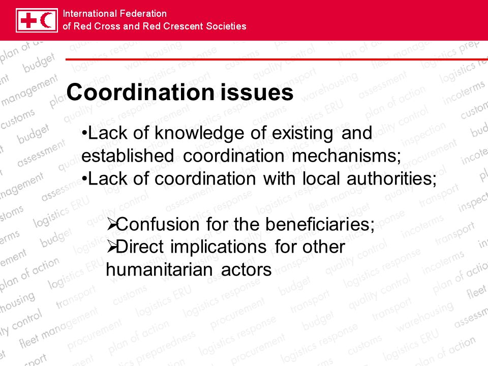 Coordination issues Lack of knowledge of existing and established coordination mechanisms; Lack of coordination with local authorities; Confusion for the beneficiaries; Direct implications for other humanitarian actors