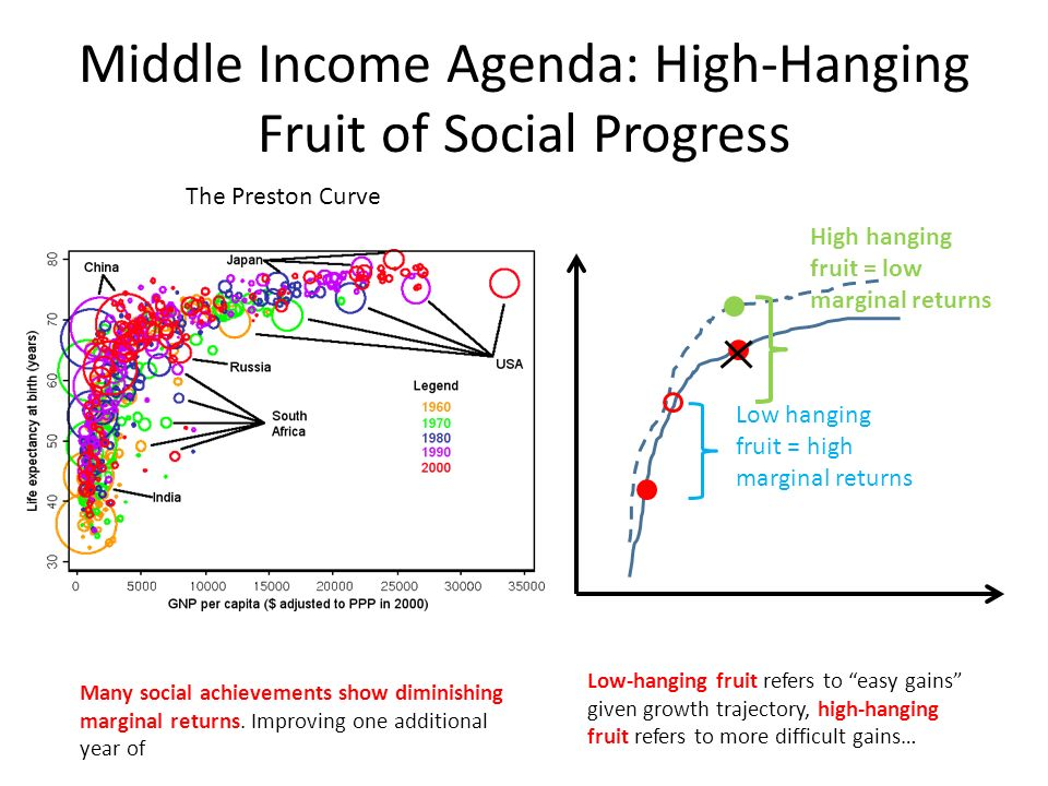 Middle Income Agenda: High-Hanging Fruit of Social Progress Many social achievements show diminishing marginal returns.
