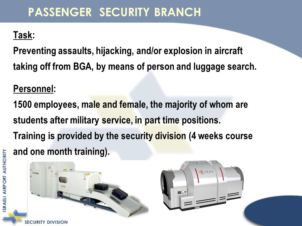 Task: Preventing assaults, hijacking, and/or explosion in aircraft taking off from BGA, by means of person and luggage search.