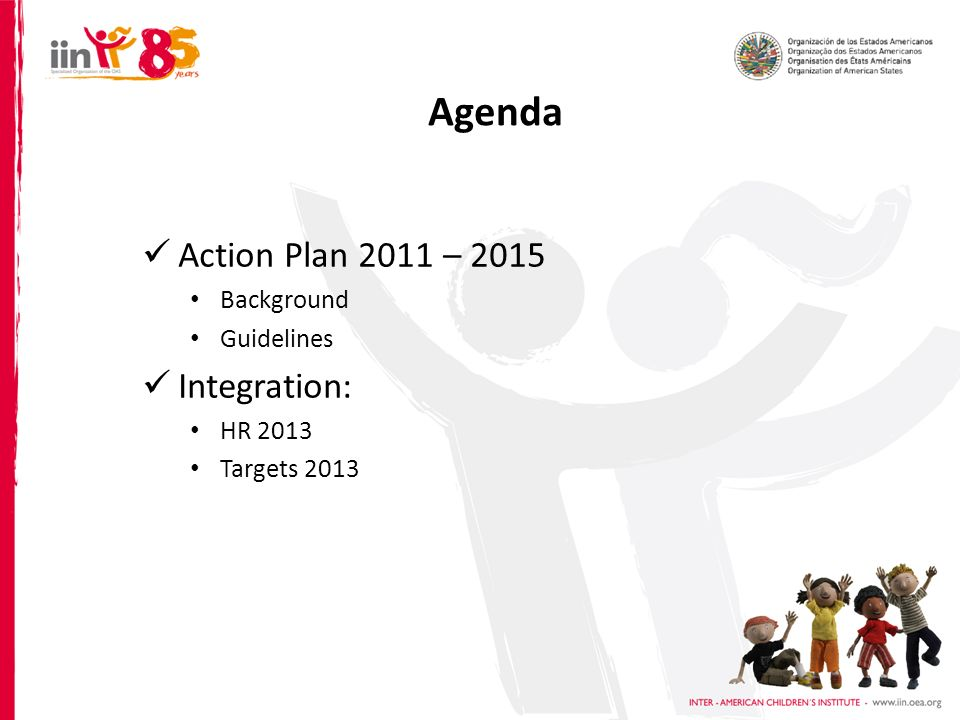 Agenda Action Plan 2011 – 2015 Background Guidelines Integration: HR 2013 Targets 2013