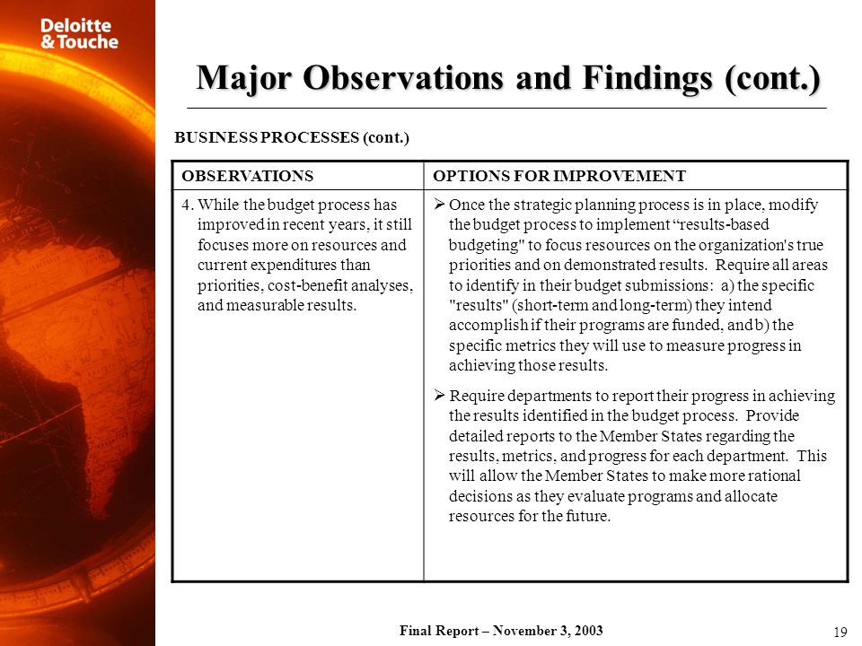 Final Report – November 3, 2003 OBSERVATIONSOPTIONS FOR IMPROVEMENT 4. While the budget process has improved in recent years, it still focuses more on