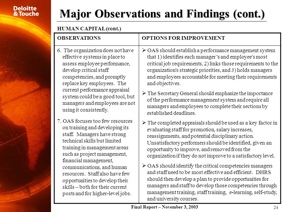 Final Report – November 3, 2003 OBSERVATIONSOPTIONS FOR IMPROVEMENT 6. The organization does not have effective systems in place to assess employee pe