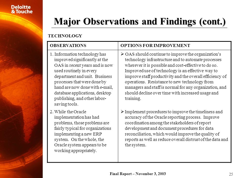 Final Report – November 3, 2003 TECHNOLOGY OBSERVATIONSOPTIONS FOR IMPROVEMENT 1. Information technology has improved significantly at the OAS in rece