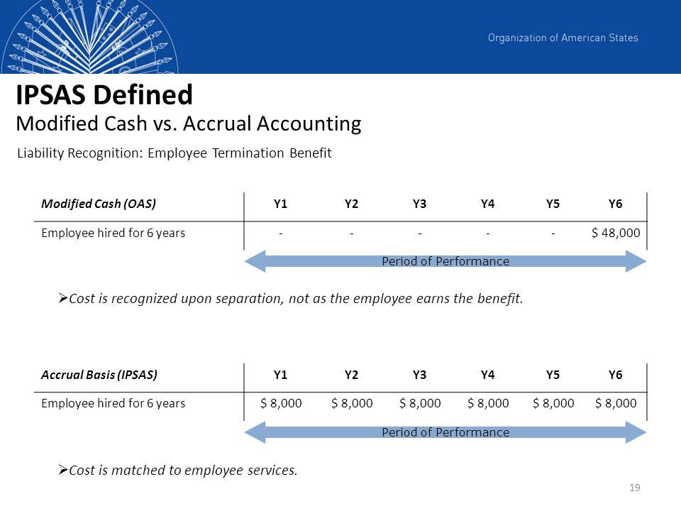 19 Modified Cash (OAS)Y1Y2Y3Y4Y5Y6 Employee hired for 6 years-----$ 48,000 Accrual Basis (IPSAS)Y1Y2Y3Y4Y5Y6 Employee hired for 6 years$ 8,000 Period