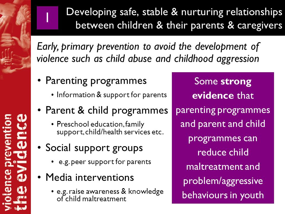 Nucleo de Estudos da Violencia (NEV), Brazil Home visitation programs by health care professionals Low-income first time adolescent mothers Parenting skills Emotional bonding Health behaviours Personal development Parenting programmes Information & support for parents Parent & child programmes Preschool education, family support, child/health services etc.