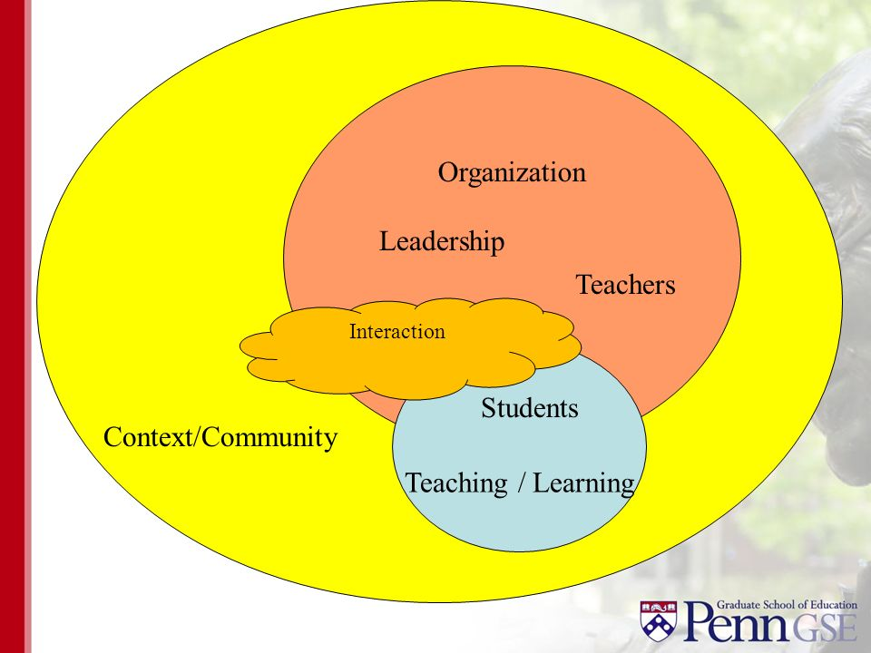 Organization Context/Community Teaching / Learning Teachers Leadership Students Interaction