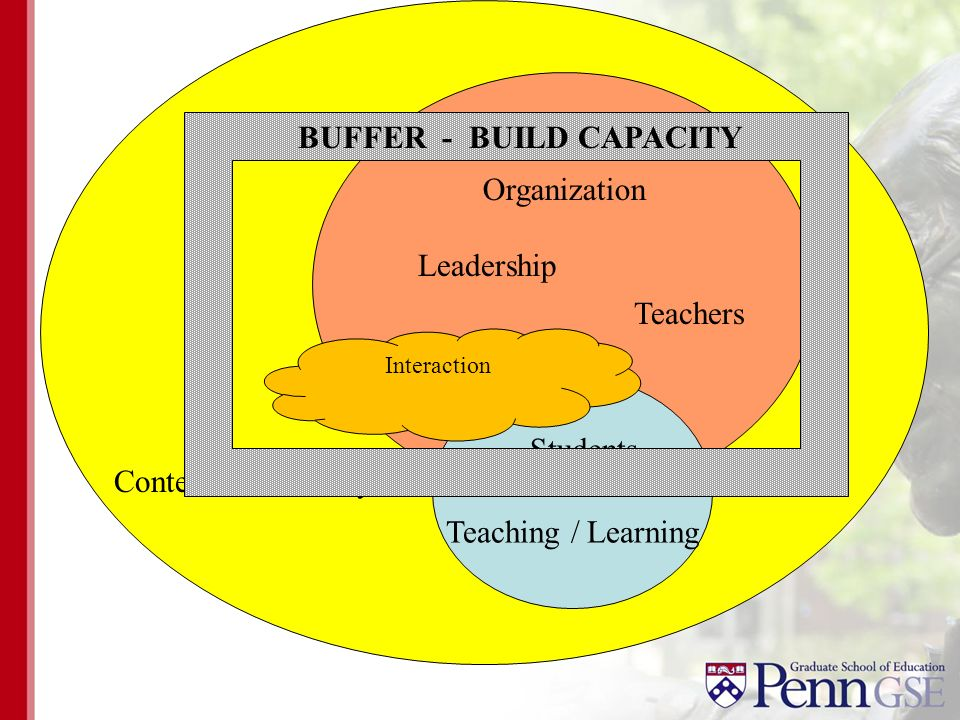 Organization Context/Community Teaching / Learning Teachers Leadership Students Interaction BUFFER - BUILD CAPACITY