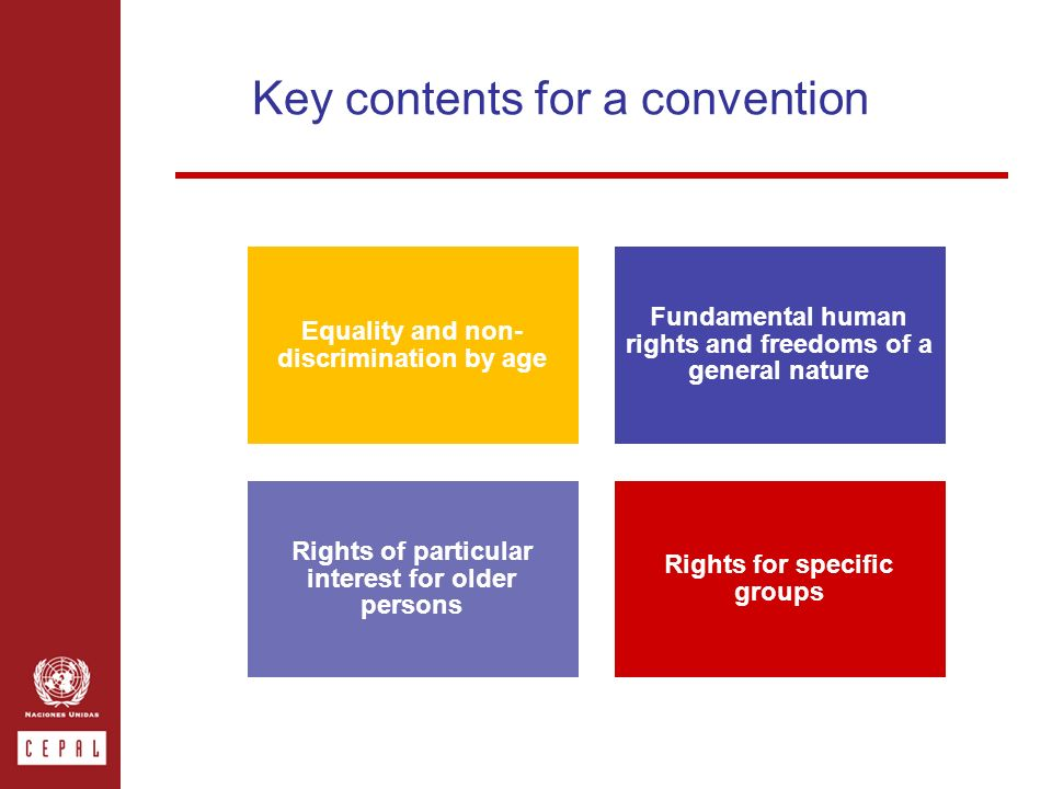 Key contents for a convention Equality and non- discrimination by age Fundamental human rights and freedoms of a general nature Rights of particular interest for older persons Rights for specific groups