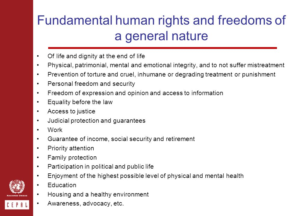 Fundamental human rights and freedoms of a general nature Of life and dignity at the end of life Physical, patrimonial, mental and emotional integrity, and to not suffer mistreatment Prevention of torture and cruel, inhumane or degrading treatment or punishment Personal freedom and security Freedom of expression and opinion and access to information Equality before the law Access to justice Judicial protection and guarantees Work Guarantee of income, social security and retirement Priority attention Family protection Participation in political and public life Enjoyment of the highest possible level of physical and mental health Education Housing and a healthy environment Awareness, advocacy, etc.