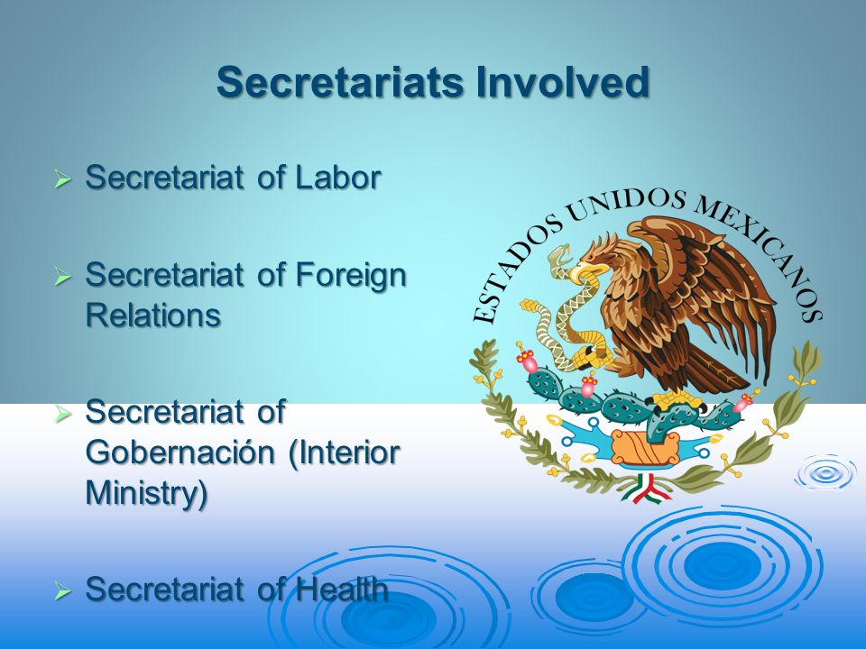 Secretariats Involved Secretariat of Labor Secretariat of Labor Secretariat of Foreign Relations Secretariat of Foreign Relations Secretariat of Gobernación (Interior Ministry) Secretariat of Gobernación (Interior Ministry) Secretariat of Health Secretariat of Health