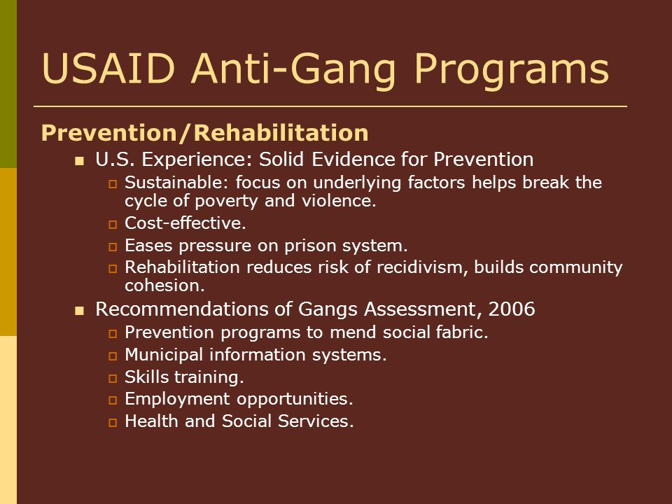 USAID Anti-Gang Programs Prevention/Rehabilitation U.S. Experience: Solid Evidence for Prevention Sustainable: focus on underlying factors helps break