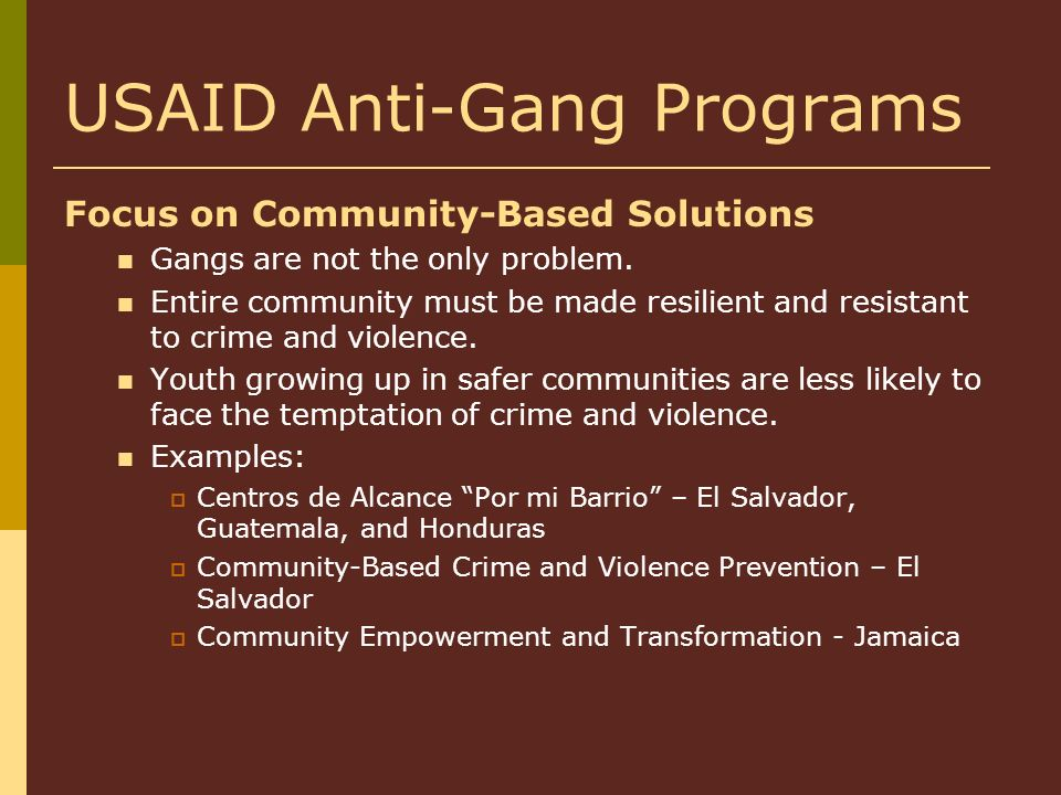 USAID Anti-Gang Programs Focus on Community-Based Solutions Gangs are not the only problem. Entire community must be made resilient and resistant to c