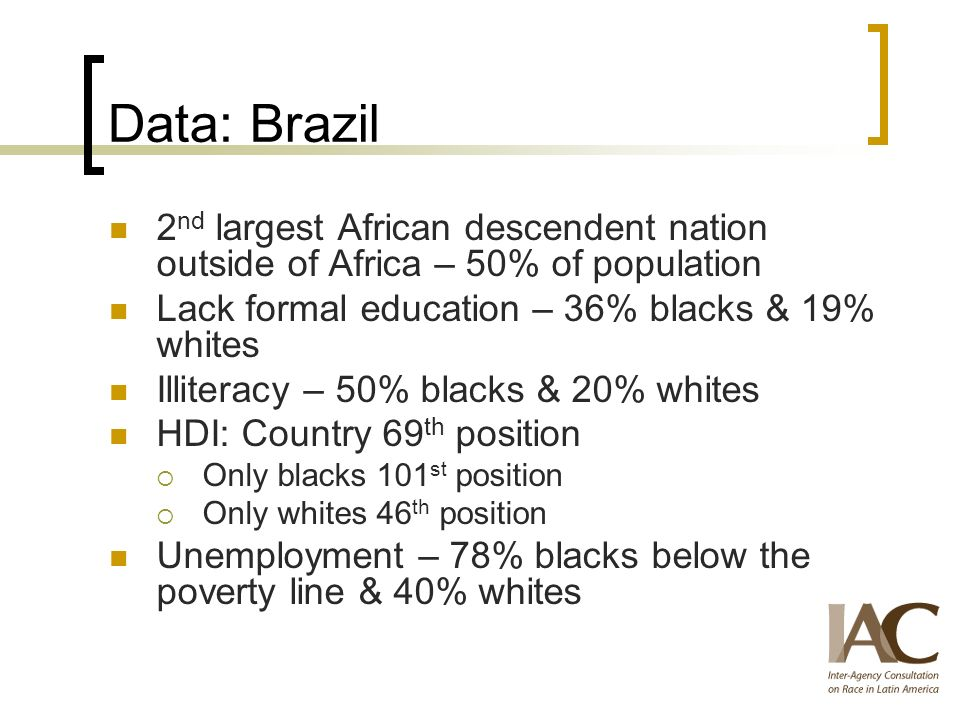 Data: Brazil 2 nd largest African descendent nation outside of Africa – 50% of population Lack formal education – 36% blacks & 19% whites Illiteracy – 50% blacks & 20% whites HDI: Country 69 th position Only blacks 101 st position Only whites 46 th position Unemployment – 78% blacks below the poverty line & 40% whites
