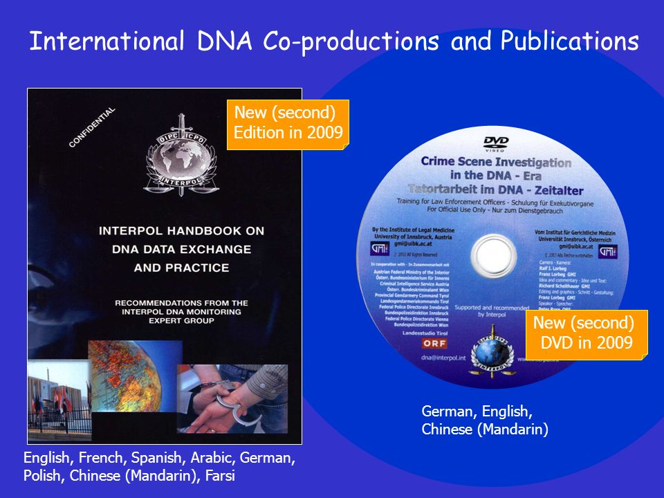 English, French, Spanish, Arabic, German, Polish, Chinese (Mandarin), Farsi International DNA Co-productions and Publications German, English, Chinese (Mandarin) New (second) Edition in 2009 New (second) DVD in 2009