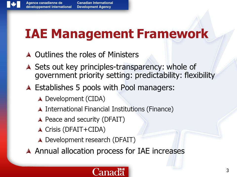 3 IAE Management Framework Outlines the roles of Ministers Sets out key principles-transparency: whole of government priority setting: predictability: flexibility Establishes 5 pools with Pool managers: Development (CIDA) International Financial Institutions (Finance) Peace and security (DFAIT) Crisis (DFAIT+CIDA) Development research (DFAIT) Annual allocation process for IAE increases
