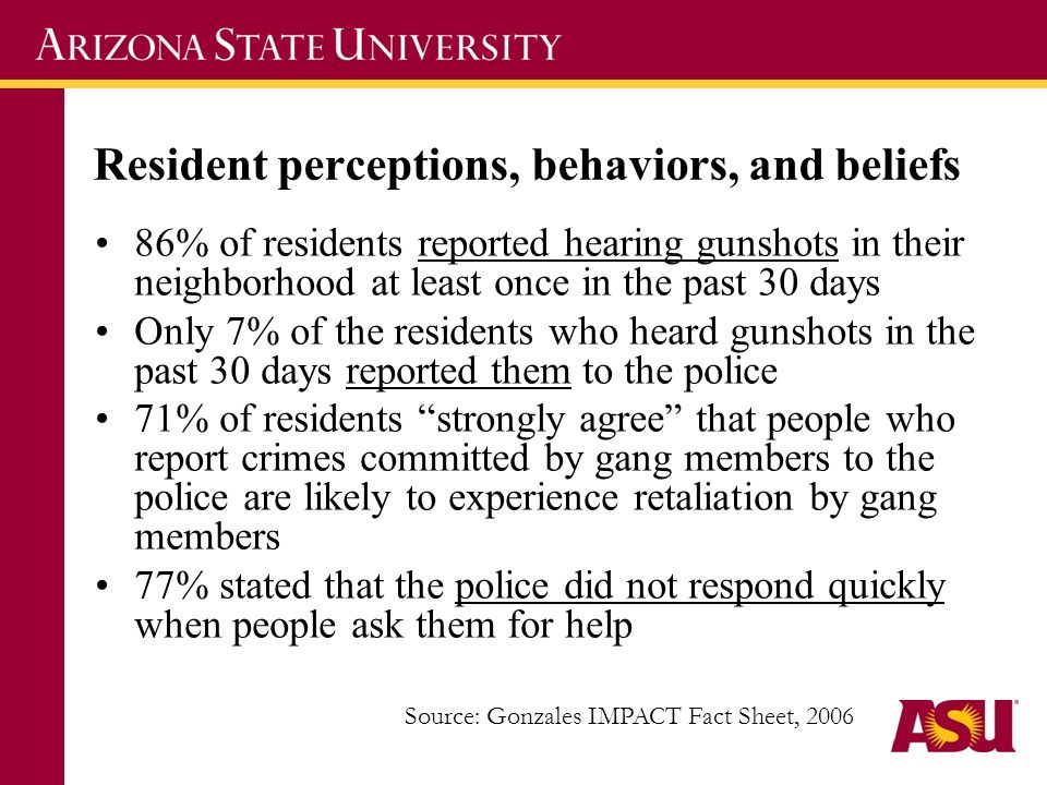 Resident perceptions, behaviors, and beliefs 86% of residents reported hearing gunshots in their neighborhood at least once in the past 30 days Only 7% of the residents who heard gunshots in the past 30 days reported them to the police 71% of residents strongly agree that people who report crimes committed by gang members to the police are likely to experience retaliation by gang members 77% stated that the police did not respond quickly when people ask them for help Source: Gonzales IMPACT Fact Sheet, 2006