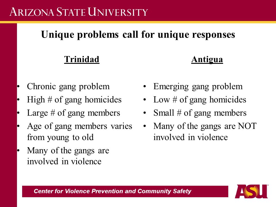 Unique problems call for unique responses Trinidad Chronic gang problem High # of gang homicides Large # of gang members Age of gang members varies from young to old Many of the gangs are involved in violence Antigua Emerging gang problem Low # of gang homicides Small # of gang members Many of the gangs are NOT involved in violence Center for Violence Prevention and Community Safety