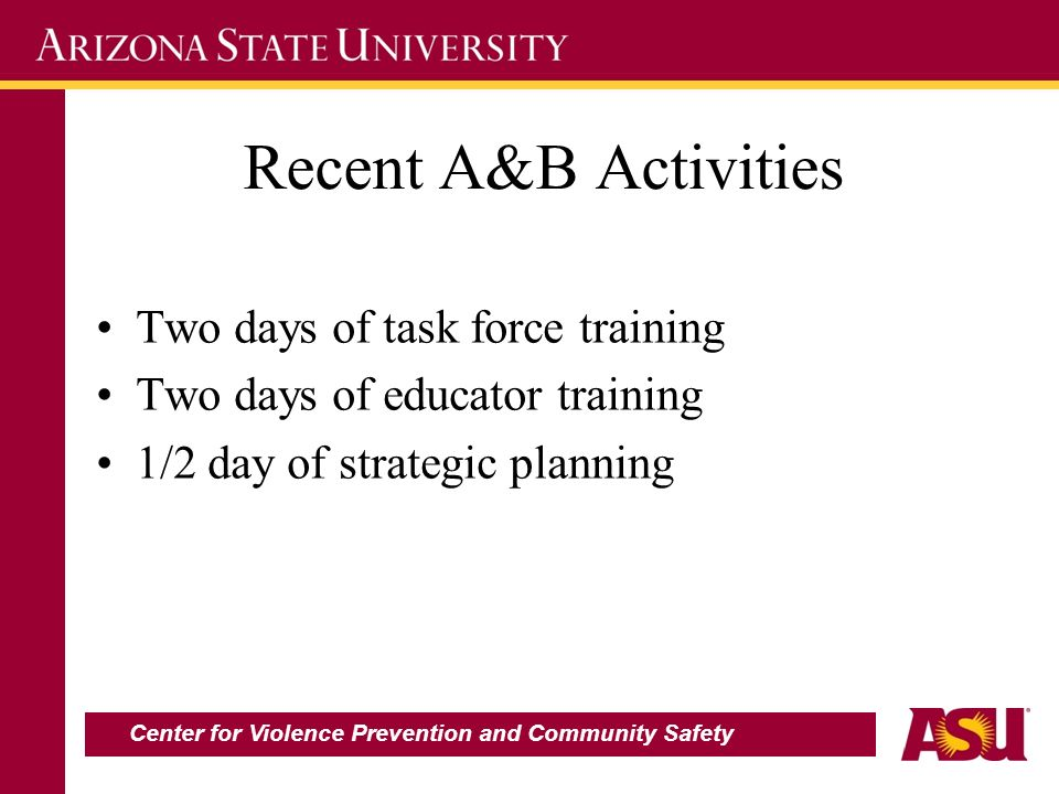 Recent A&B Activities Two days of task force training Two days of educator training 1/2 day of strategic planning Center for Violence Prevention and C