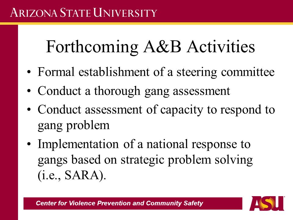 Forthcoming A&B Activities Formal establishment of a steering committee Conduct a thorough gang assessment Conduct assessment of capacity to respond t