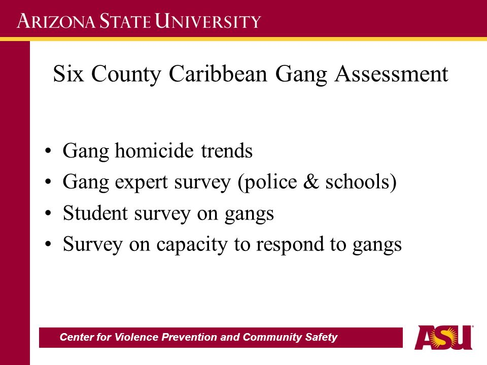 Six County Caribbean Gang Assessment Gang homicide trends Gang expert survey (police & schools) Student survey on gangs Survey on capacity to respond to gangs Center for Violence Prevention and Community Safety