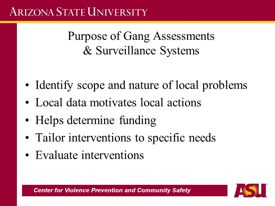 Purpose of Gang Assessments & Surveillance Systems Identify scope and nature of local problems Local data motivates local actions Helps determine funding Tailor interventions to specific needs Evaluate interventions Center for Violence Prevention and Community Safety