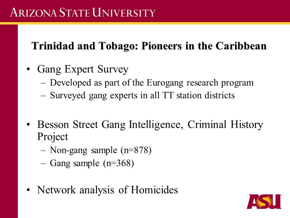 Trinidad and Tobago: Pioneers in the Caribbean Gang Expert Survey –Developed as part of the Eurogang research program –Surveyed gang experts in all TT station districts Besson Street Gang Intelligence, Criminal History Project –Non-gang sample (n=878) –Gang sample (n=368) Network analysis of Homicides