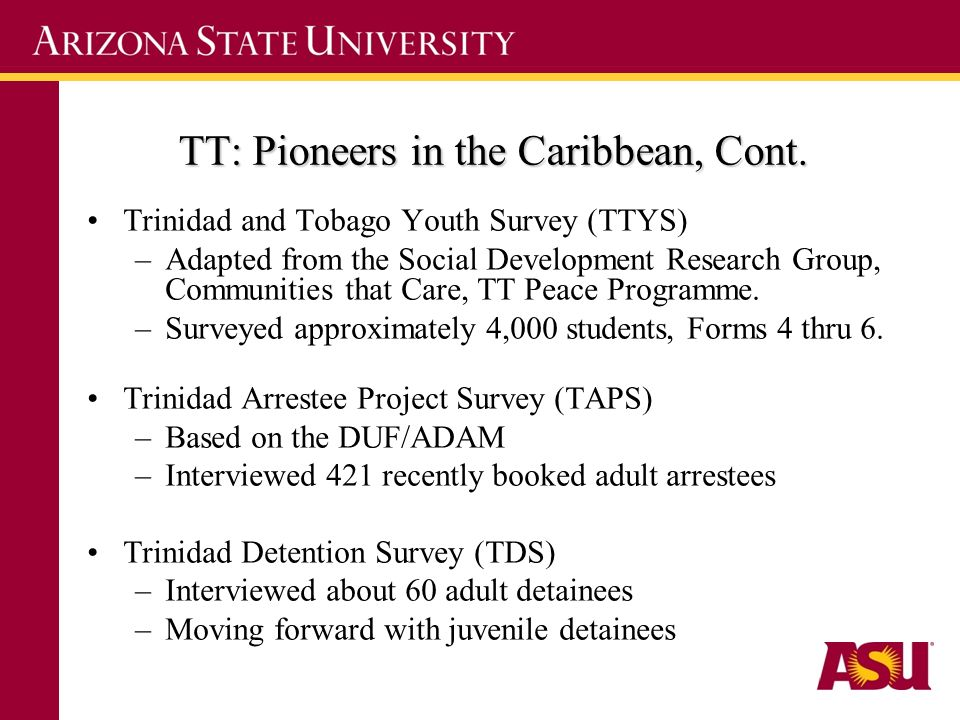 TT: Pioneers in the Caribbean, Cont. Trinidad and Tobago Youth Survey (TTYS) –Adapted from the Social Development Research Group, Communities that Car