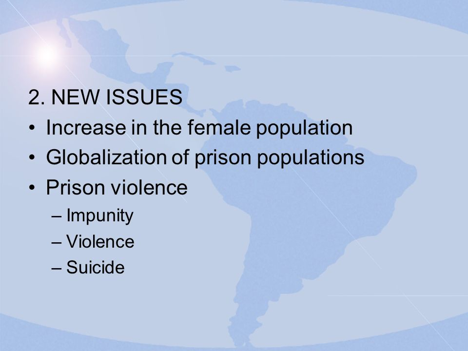 2. NEW ISSUES Increase in the female population Globalization of prison populations Prison violence –Impunity –Violence –Suicide