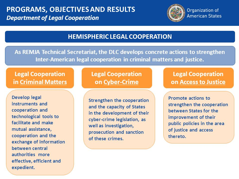 HEMISPHERIC LEGAL COOPERATION As REMJA Technical Secretariat, the DLC develops concrete actions to strengthen Inter-American legal cooperation in crim