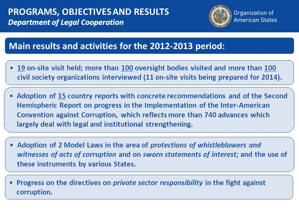 Main results and activities for the 2012-2013 period: 19 on-site visit held; more than 100 oversight bodies visited and more than 100 civil society or