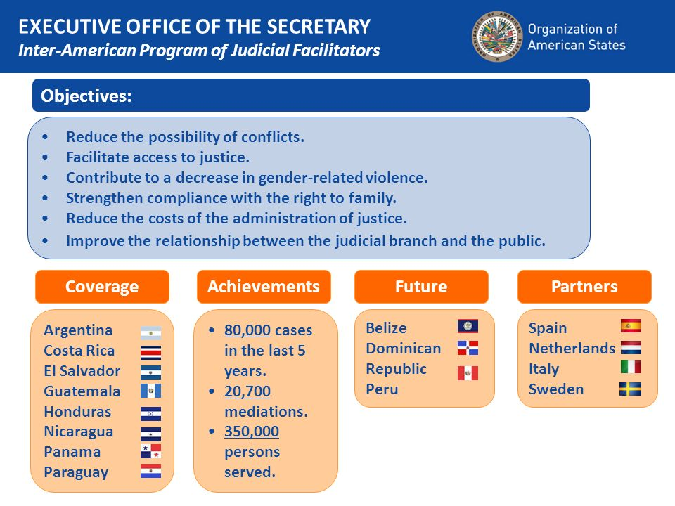Objectives: Reduce the possibility of conflicts. Facilitate access to justice.