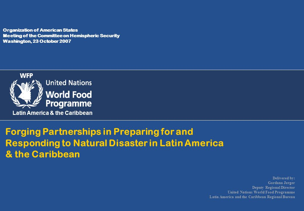 Organization of American States Meeting of the Committee on Hemispheric Security Washington, 23 October 2007 Latin America & the Caribbean Forging Par