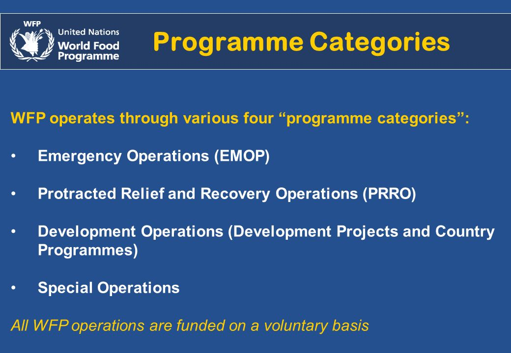 Alejandro.chicheri@wfp.org /2007 Programme Categories WFP operates through various four programme categories: Emergency Operations (EMOP) Protracted R