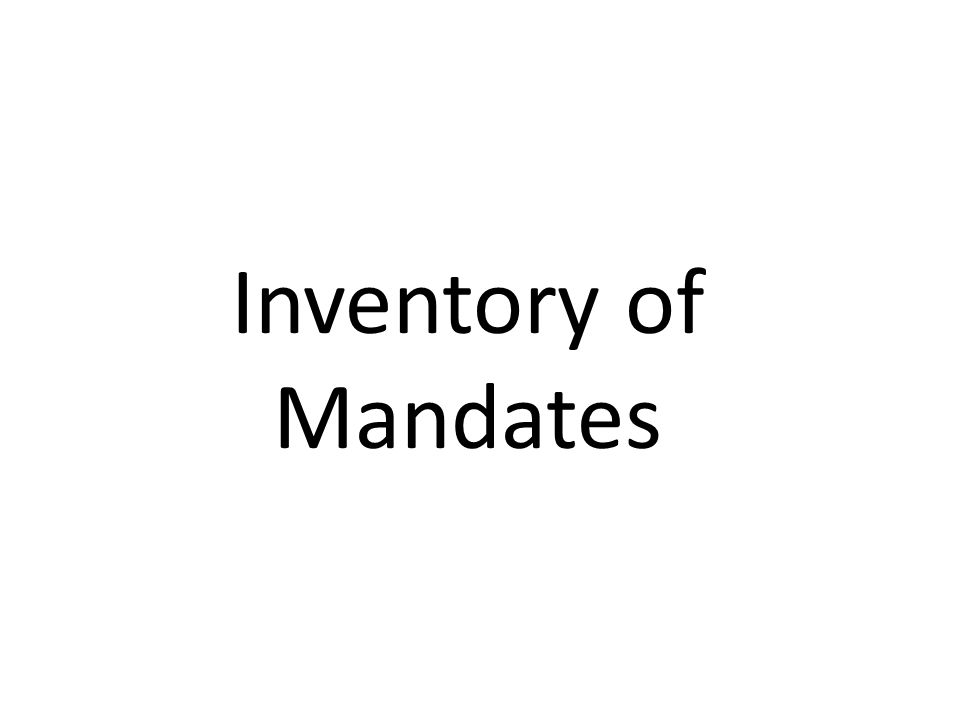 Inventory of Mandates