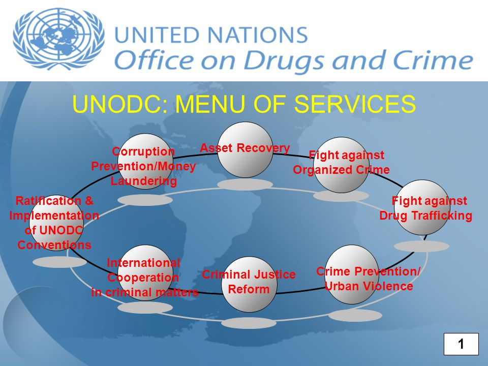UNODC: MENU OF SERVICES Ratification & Implementation of UNODC Conventions International Cooperation in criminal matters Asset Recovery Fight against Organized Crime Corruption Prevention/Money Laundering Criminal Justice Reform Fight against Drug Trafficking Crime Prevention/ Urban Violence 1