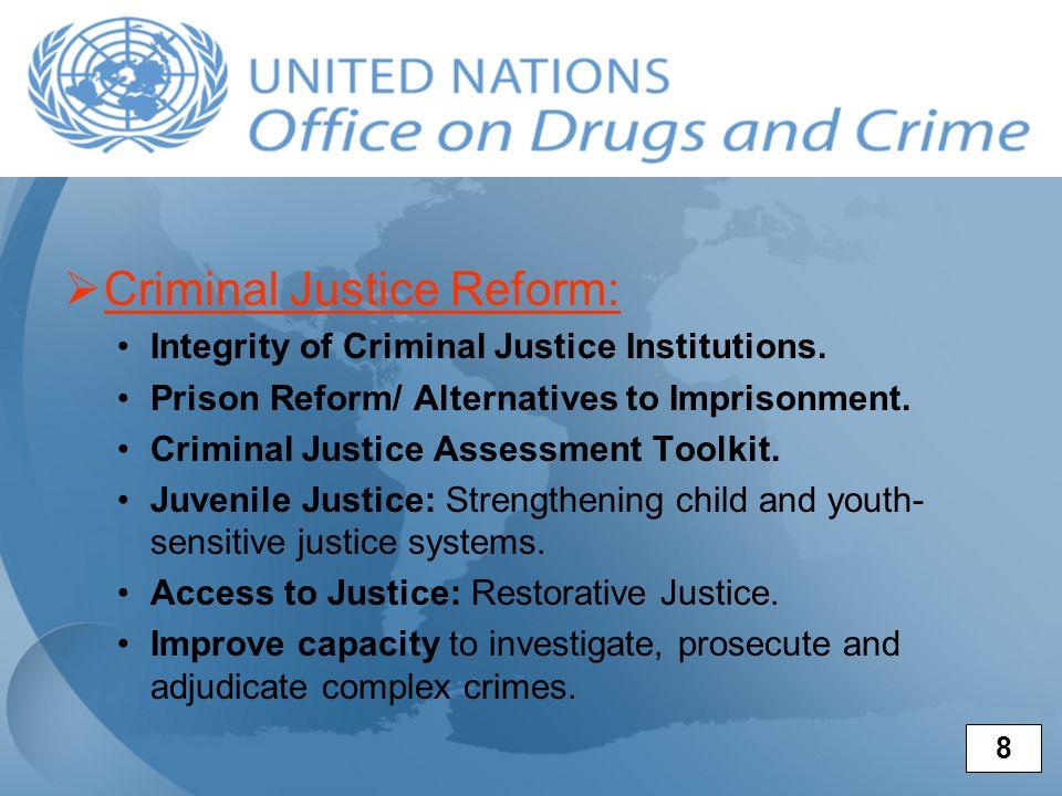 Criminal Justice Reform: Integrity of Criminal Justice Institutions. Prison Reform/ Alternatives to Imprisonment. Criminal Justice Assessment Toolkit.