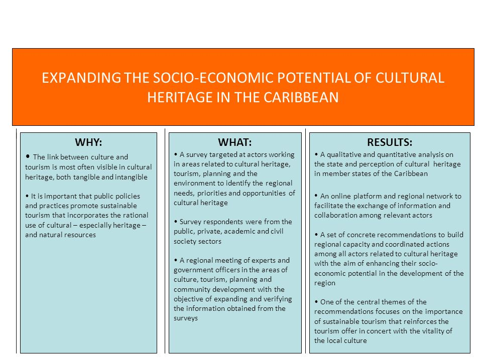 EXPANDING THE SOCIO-ECONOMIC POTENTIAL OF CULTURAL HERITAGE IN THE CARIBBEAN WHY: The link between culture and tourism is most often visible in cultur