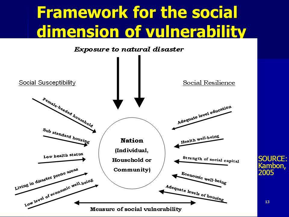 13 Framework for the social dimension of vulnerability SOURCE: Kambon, 2005