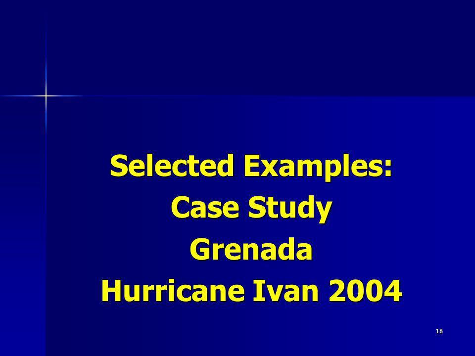18 Selected Examples: Case Study Grenada Hurricane Ivan 2004