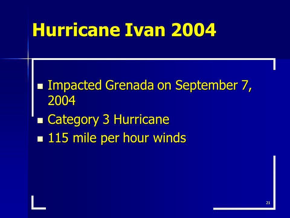 21 Impacted Grenada on September 7, 2004 Impacted Grenada on September 7, 2004 Category 3 Hurricane Category 3 Hurricane 115 mile per hour winds 115 m