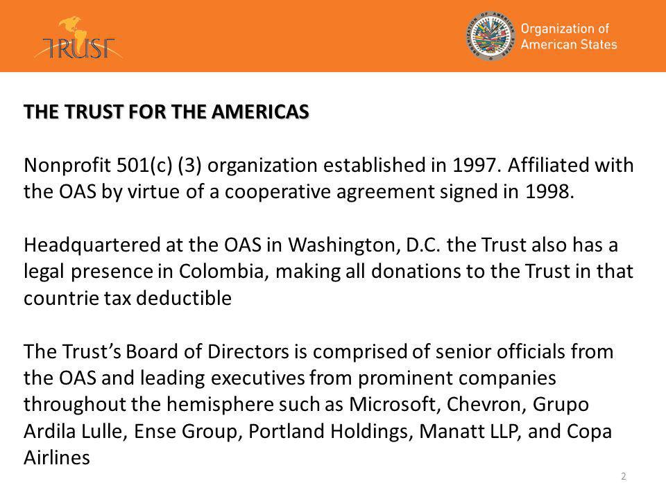 2 THE TRUST FOR THE AMERICAS Nonprofit 501(c) (3) organization established in 1997.
