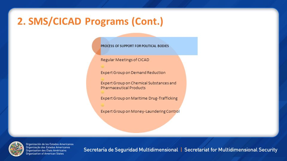 2. SMS/CICAD Programs (Cont.) PROCESS OF SUPPORT FOR POLITICAL BODIES Regular Meetings of CICAD Expert Group on Demand Reduction Expert Group on Chemi
